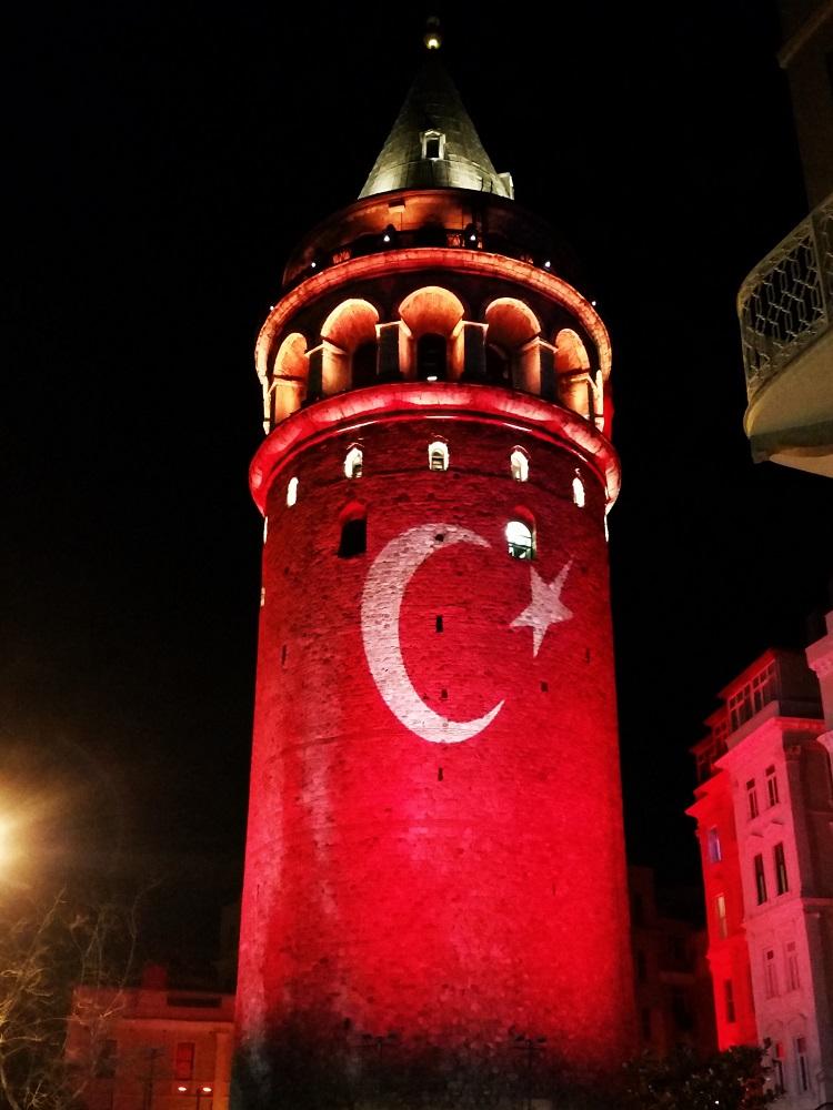Turkey - Istanbul - Galata Tower - With Flag