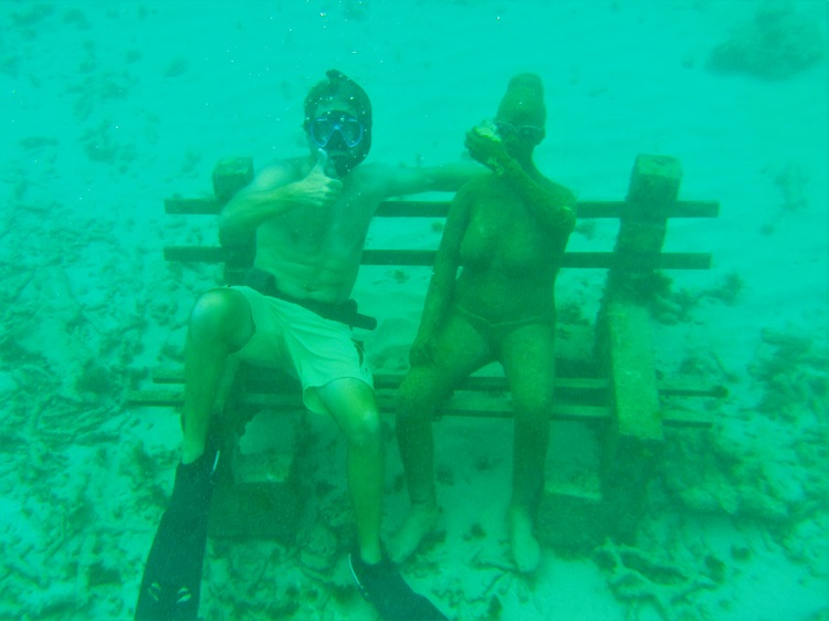 Me with the Underwater Sculpture