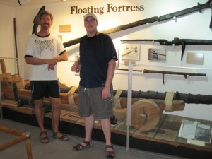 Turks & Caicos travel guide - National Museum - Joel & I with the 1513 cannon