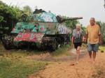 A tank on a beach