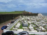 View of cemetary, city wall, and fort