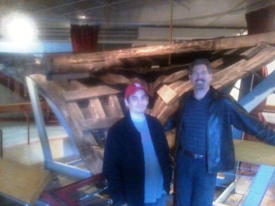 My cousin and I with the stern of the boat