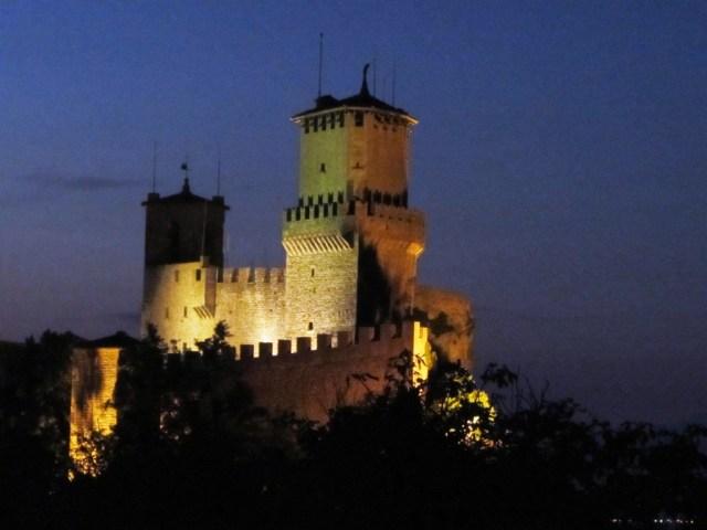 San Marino tower at dusk
