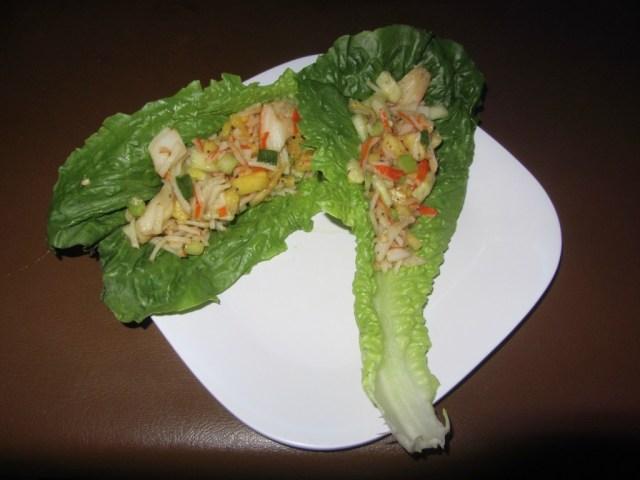 Caribbean lettuce wraps