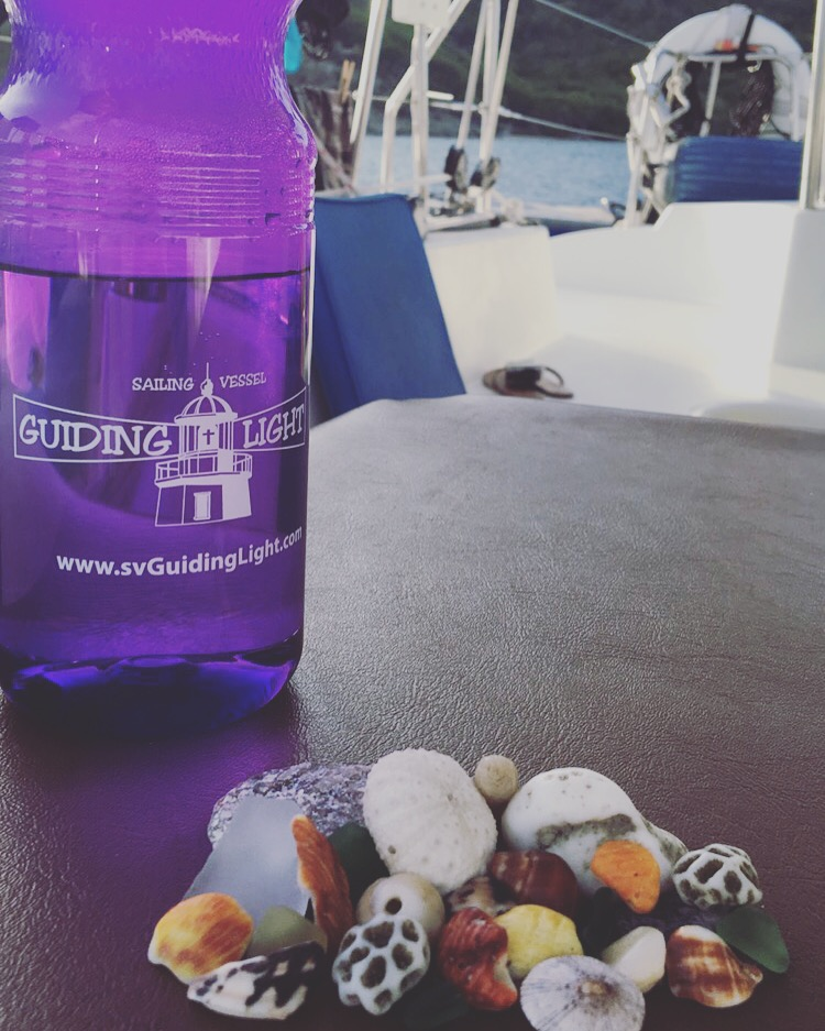 Shells with a water bottle
