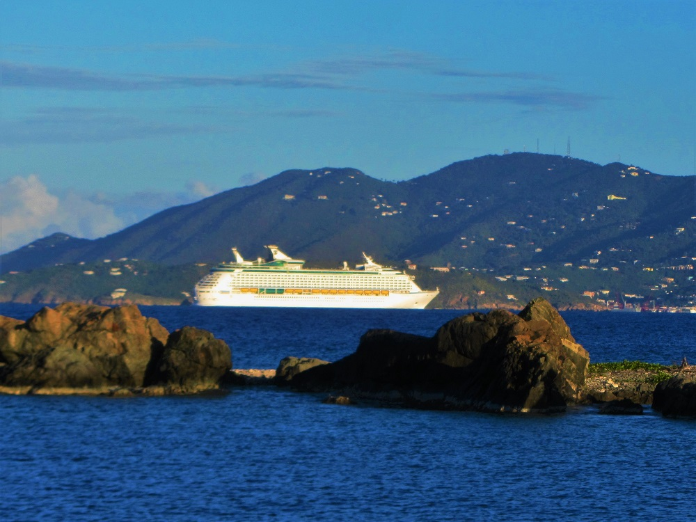 Cruise ship arriving at St Thomas