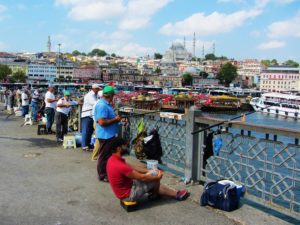 Turkey - Istanbul - Fishing From Bridge
