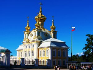 This is the gold encrusted exterior of the private church at Peterhof.