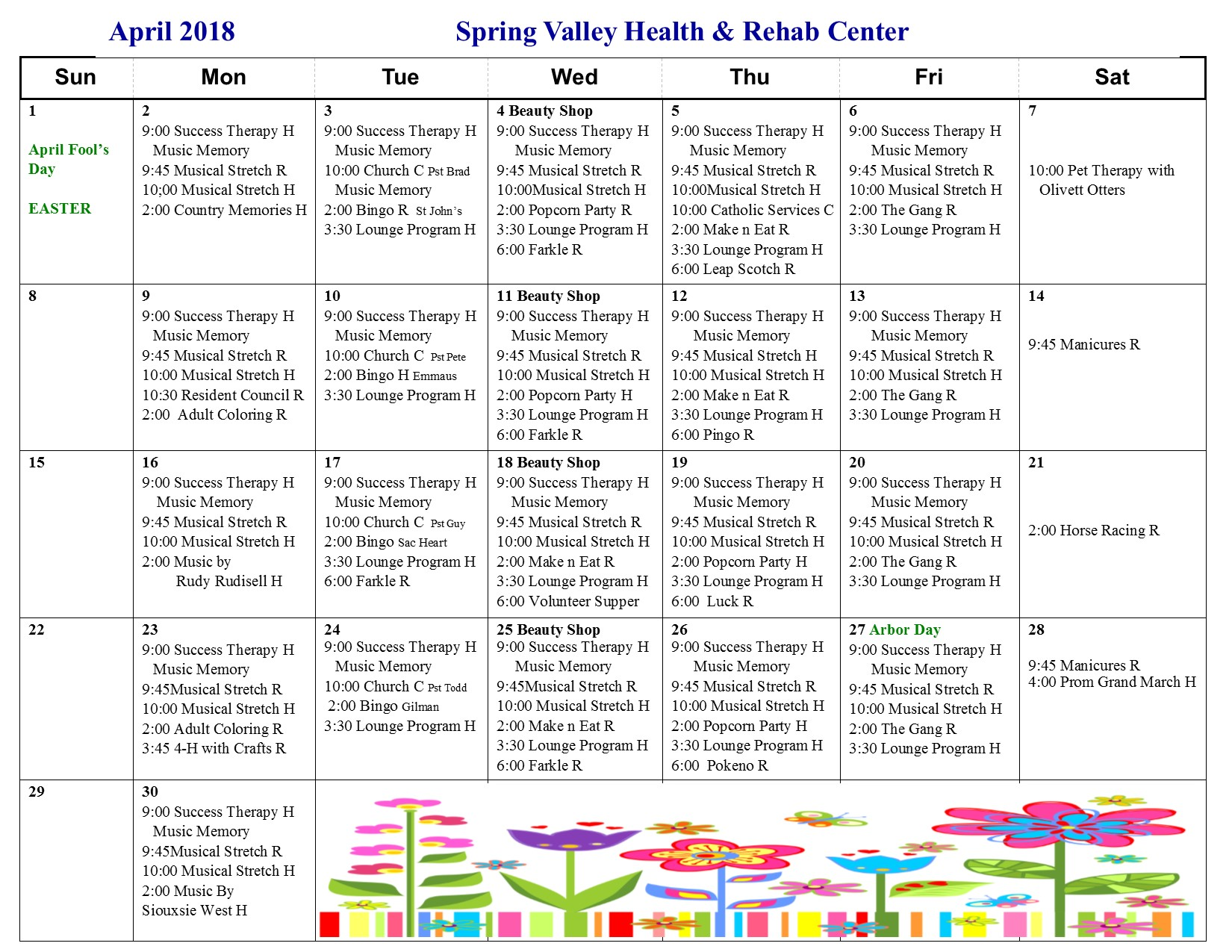 April Activity Calendar