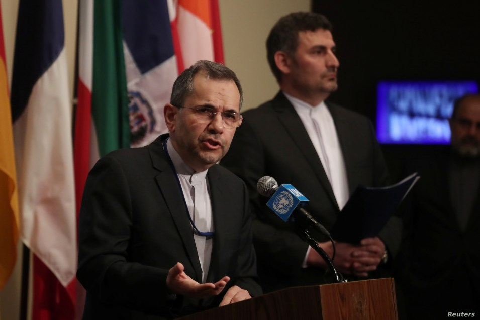 FILE - Iranian Ambassador to the United Nations Majid Takht Ravanchi speaks to the media outside Security Council chambers at the U.N. headquarters in New York, June 24, 2019.
