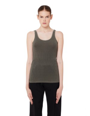 James Perse Green Ribbed Cotton Tank Top