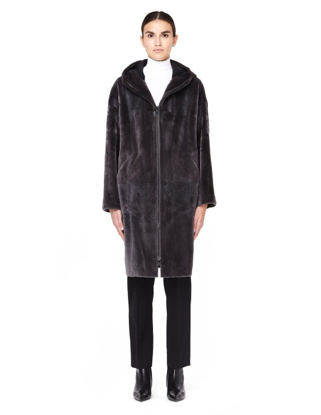 Reversible Hooded Mink Fur Coat