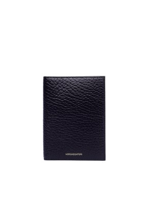 Ugo Cacciatori Black Grained Leather Passport Wallet