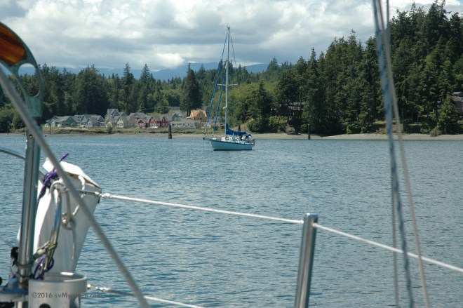 Baja buddy boat s/v Slainte, anchored near us in Port Ludlow