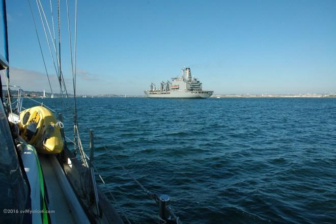 Following a warship into San Diego Bay.