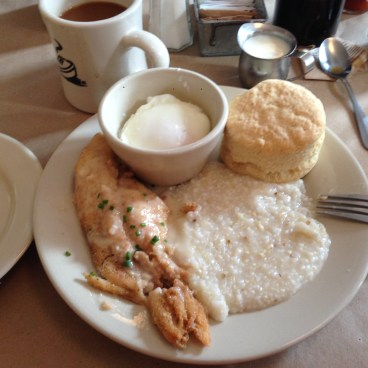 Catfish, grits and eggs breakfast