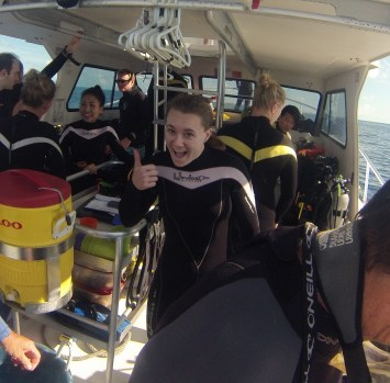 Sophie ready for her first dive.