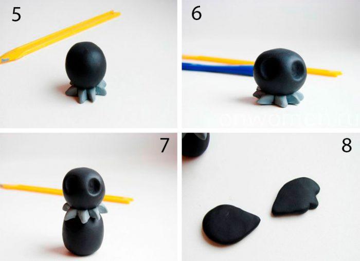 пластилиннен түсетін қарғалар өзіңіз шеберлік сыныбын жасаңыз