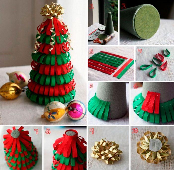 Juletræ lavet af bånd