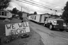 When the property was sold in February 2012 to a company that provides water to the shale gas industry, residents' leases were terminated, and they had to pay to move their homes to new locations. Some organized and vowed to keep their community.