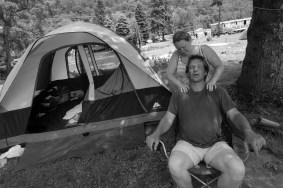 Eric and April Daniels are former residents of Riverdale who set up a tent on the site to show solidarity with their neighbors. Eric hauls contaminated frack water 12 hours a day to Ohio and back.
