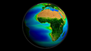 A print resolution picture of SeaWiFS global biosphere decadal average over Africa and Europe.