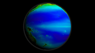 A print resolution picture of SeaWiFS global biosphere decadal average over the Pacific Ocean.
