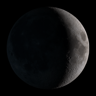Waxing crescent. Visible toward the southwest in early evening.