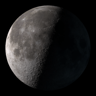 Third quarter. Rises around midnight, visible to the south after sunrise.