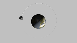 The orbit of the Moon in 2013, viewed from the north pole of the ecliptic, with the vernal equinox to the right. The sizes of the Earth and Moon are exaggerated by a factor of 30. The frames include an alpha channel.