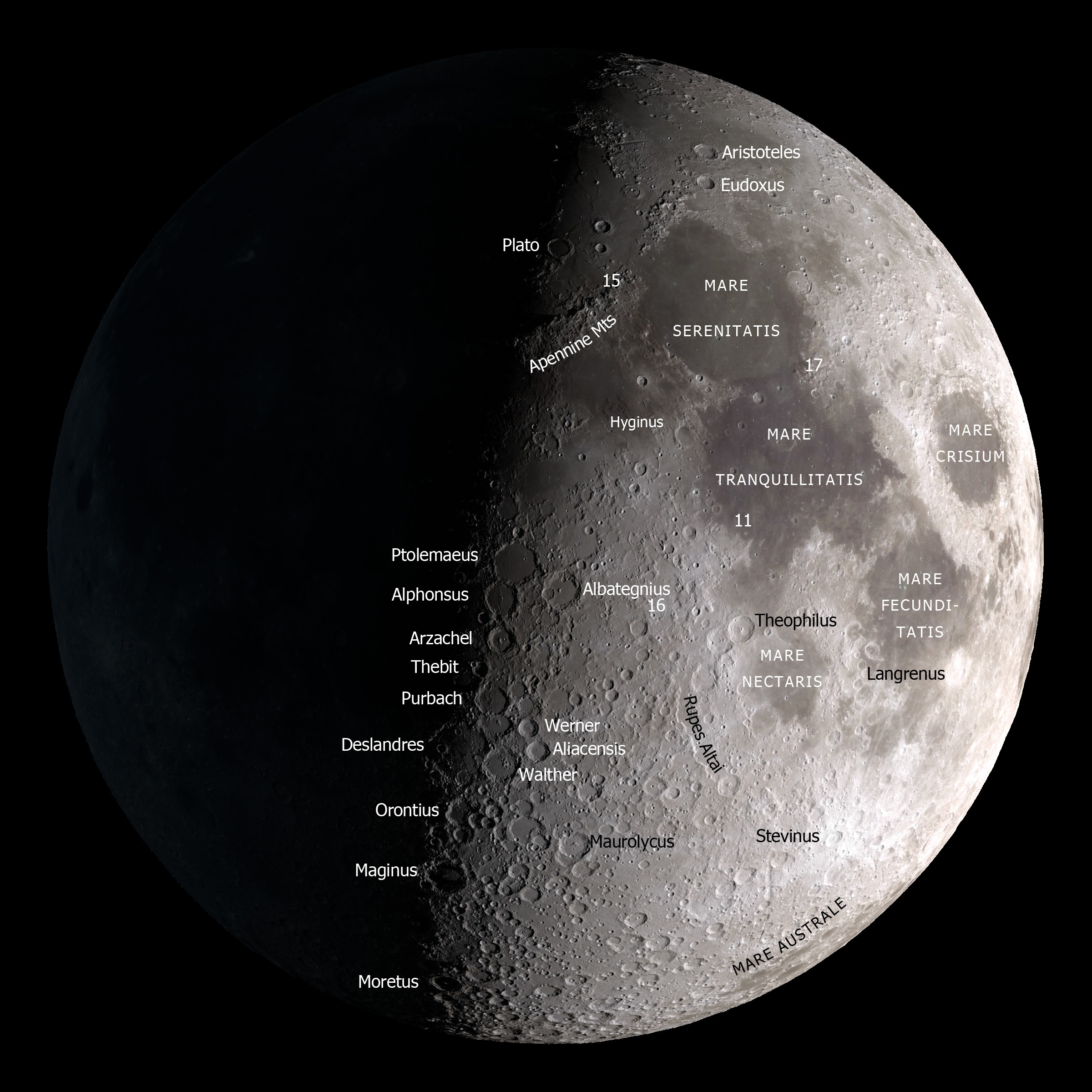 Labeled Map Moon
