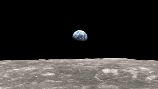 An idealized view of Earth rising above the lunar terrain, using a focal length similar to the lens used for the Earthrise photographs.