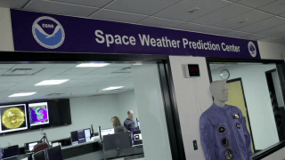 The Forecast Office of NOAA's Space Weather Prediction Center is the nation's official source of alerts, warnings, and watches. The office, staffed 24/7, is always vigilant for solar activity that can affect critical infrastructure. Credit: NOAA.