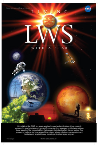 NASA's Living With a Star (LWS) program is a space-weather focused and applications driven research program. Its goal is to develop the scientific understanding necessary to effectively address those aspects of the connected sun–Earth system that directly affect life and society.  The program is implemented by a series of inter-related science missions, space environment testbeds, and a targeted theory, modeling, and data analysis program.  The Van Allen Probes are the second mission in the LWS program.  Credit: NASA