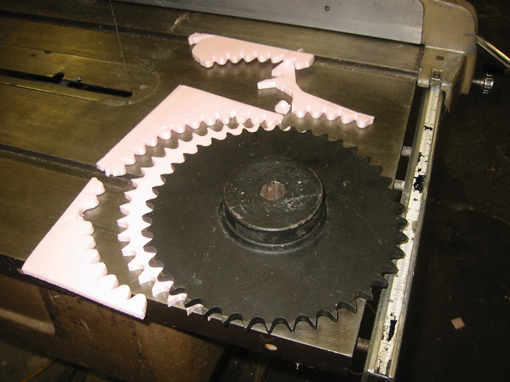 (3) Large foam sprocket part  again using a real sprocket as  a guide.