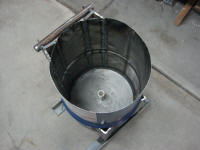 Angle iron frame around 30 gal drum