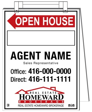 homeward real estate sandwich board sign