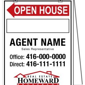homeward real estate sandwich board sign