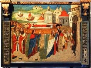 Ікона перенесення мощів святителя Миколая з Мир Лікійських у місто Бар.