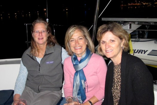 Farewell drinks on board Toucan with Pam, Gayle & Lesley