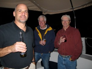 John, Rod and Peter on board Toucan for farewell drinks