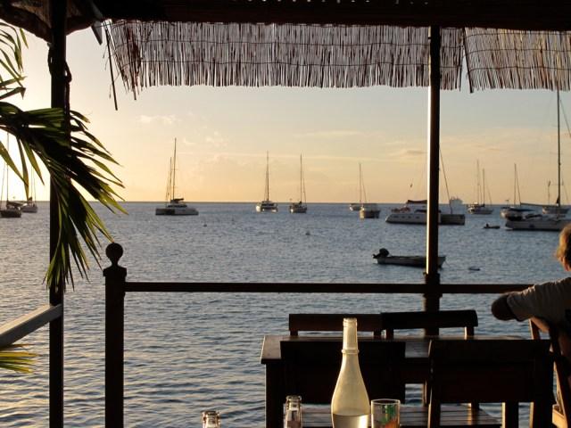 The beach bar at Deshaies