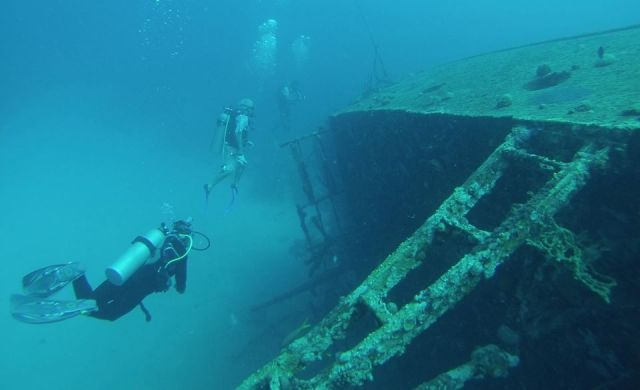 Geoff & Di on the wreck of the Hilma Hooker