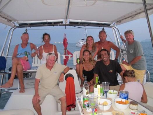 "Our cruising buddies on ""Rehua"" and ""Bladerunner"" enjoying sundowners at La Playita"