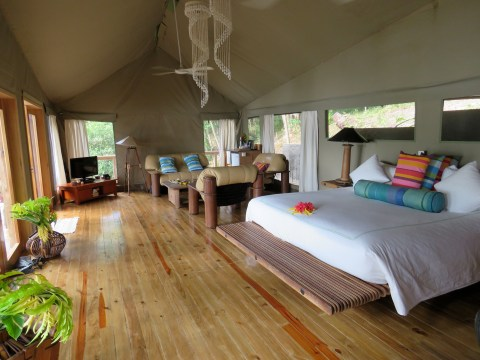 Inside the safari tent
