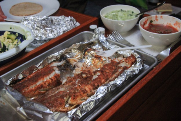 Delicious black cod and regular cod tacos for dinner