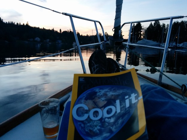 A nice fall evening in Eagle Harbor reading National Geographic.