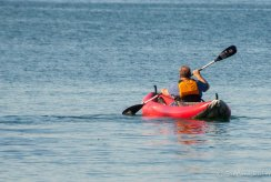 His kayak lacked a skeg which made it impossible to steer straight!