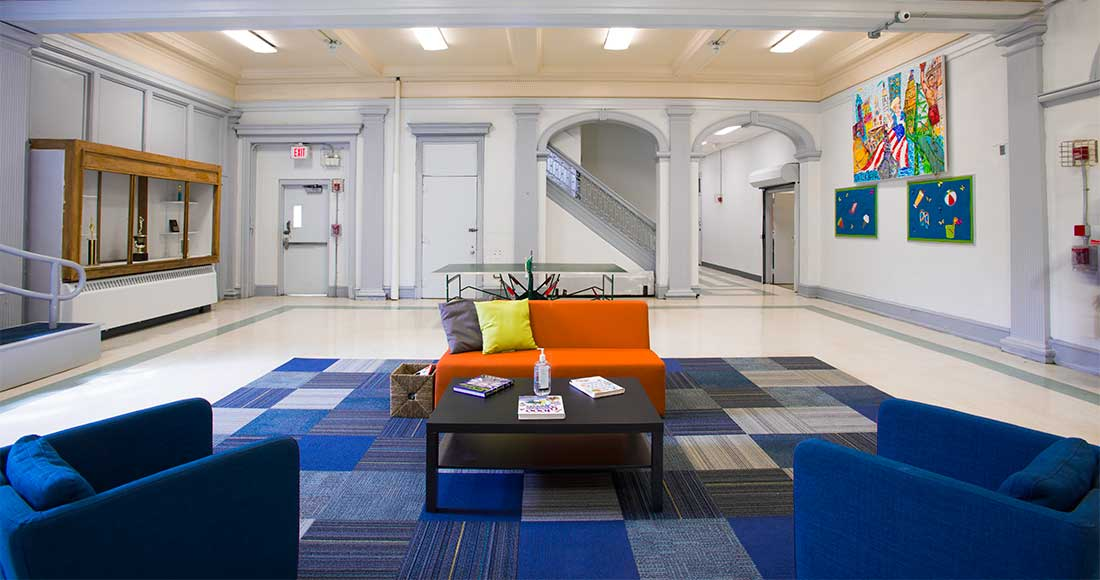 the newly repainted common area of the Philadelphia Athletic Rec Center