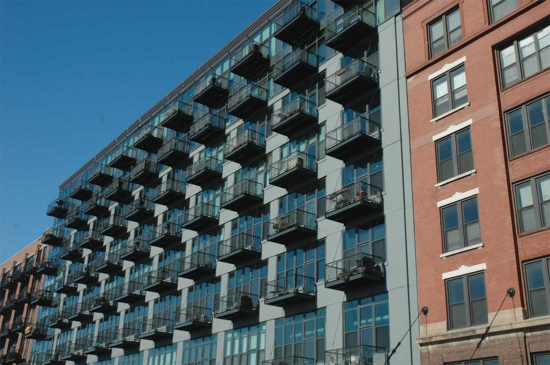 the exterior of the vb1224 lofts project in Chicago